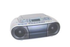 现代卡式磁带、在白色隔绝的光盘播放机和收音机 库存照片