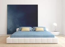 现代卧室内部。 免版税库存照片