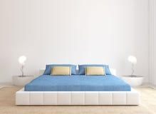 现代卧室内部。 向量例证