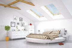 现代卧室-顶楼 免版税库存图片