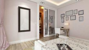 现代卧室3d翻译有桃红色墙壁的 库存图片