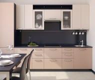 现代厨房内部。 库存图片