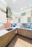 现代厨房内部有铺磁砖的地板的 免版税库存图片