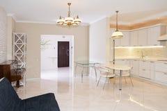 现代厨房区域附有客厅 与经典之作的室内设计或葡萄酒和现代元素 库存照片