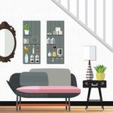 现代和惊人的客厅装饰 库存照片