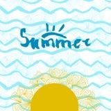 现代和时髦的印刷设计海报 递在霓虹蓝色刷子冲程背景的有学问的文本夏天  图库摄影