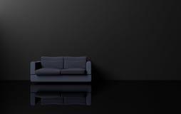 现代和豪华与黑暗的口气、深蓝沙发黑色墙壁和黑发光的地板, 3d的简单派样式室内设计翻译 向量例证
