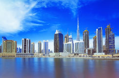 现代和豪华迪拜市,阿联酋美好的全景  免版税库存照片