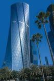 现代和高上升的市的地平线多哈在Katar,中东 免版税库存照片