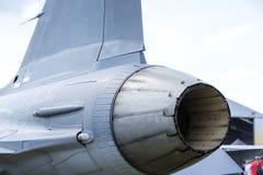 现代喷气式歼击机的加力燃烧室 免版税库存照片