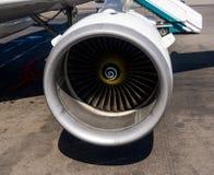 现代喷气式飞机空中客车A321的引擎 免版税库存照片