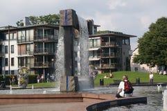 现代喷泉的看法,挪威 免版税库存图片
