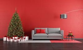 现代圣诞节客厅 免版税库存图片