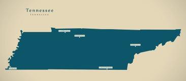 现代地图-田纳西美国例证剪影 免版税库存照片