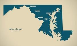 现代地图-马里兰美国例证剪影 免版税图库摄影