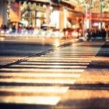 现代城市交叉路夜视图  抽象都市风景 库存图片