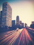 现代城市在夜和天空里 库存图片