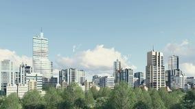 现代城市地平线和公园分区全景4K