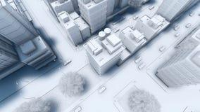 现代城市街道交通鸟瞰图4K 库存例证
