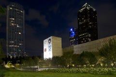 现代城市达拉斯夜场面 免版税图库摄影