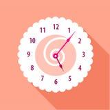 现代墙壁编号了时钟象,平的样式 免版税图库摄影