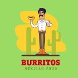 现代墨西哥人拿着全国快餐 免版税库存照片
