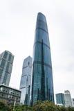 现代大厦在广州市在雨天 图库摄影
