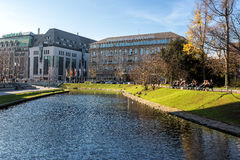 现代大厦在杜塞尔多夫,德国 建筑学细节  库存图片