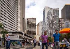 现代大厦在里约热内卢中心商业区,在佐田特里萨附近 免版税库存照片
