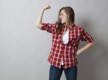 现代女孩力量概念 免版税库存图片