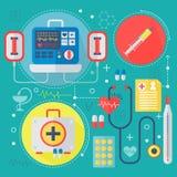 现代医学和医疗保健提供清洁服务或膳食的公寓概念 医疗药房技术诊断infographics设计,网 库存照片