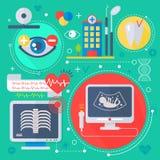 现代医学和医疗保健提供清洁服务或膳食的公寓概念 医疗药房技术诊断infographics设计,网 图库摄影