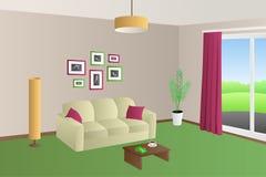 现代客厅内部米黄绿色沙发红色把灯窗口例证枕在 库存图片
