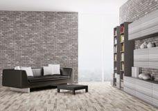 现代客厅3d内部  免版税库存图片