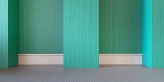 现代室和绿色墙壁在地板/3d翻译 免版税库存照片