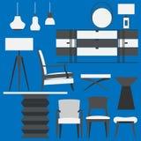 现代家具和家庭辅助部件 客厅套装 免版税库存照片
