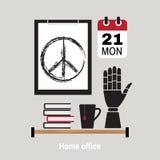 现代家庭办公室工作区的例证 库存图片