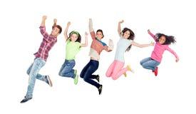 现代家庭跳跃 库存照片