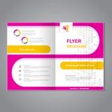 现代小册子,抽象飞行物,与圆形的简单的被加点的设计 布局模板 A4大小的长宽比 桃红色海报  免版税库存图片