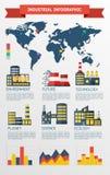 现代工业平的infographic背景。 免版税库存照片