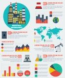 现代工业平的infographic背景 免版税库存照片