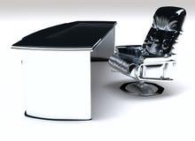 现代工作书桌和椅子 免版税库存图片