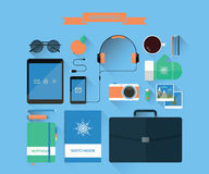 现代工作区和设备 向量例证
