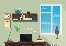 现代工作场所的平的设计例证 免版税库存照片
