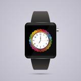 现代巧妙的时钟 数字手表模板 也corel凹道例证向量 免版税库存照片