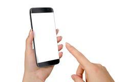 现代黑巧妙的电话在妇女手上 大模型的被隔绝的白色屏幕 库存图片