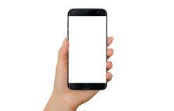 现代黑巧妙的电话在妇女手上 大模型的被隔绝的白色屏幕 库存照片