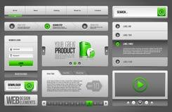 现代干净的网站设计元素灰色绿色灰色:按钮,形式,滑子,纸卷,转盘 皇族释放例证