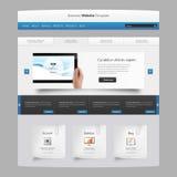 现代干净的ebsite设计模板,与片剂在手中现实例证 免版税库存照片