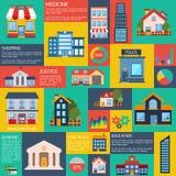 现代平的城市背景infographics 免版税库存照片